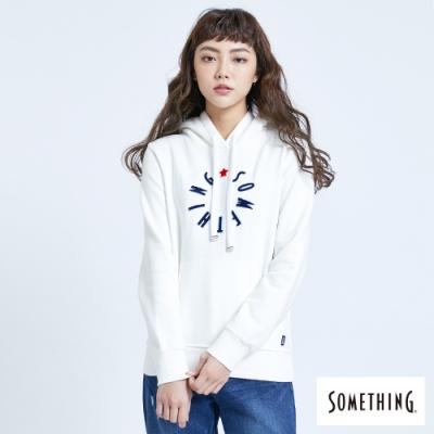 SOMETHING 活潑LOGO 厚連帽T恤-女-白色