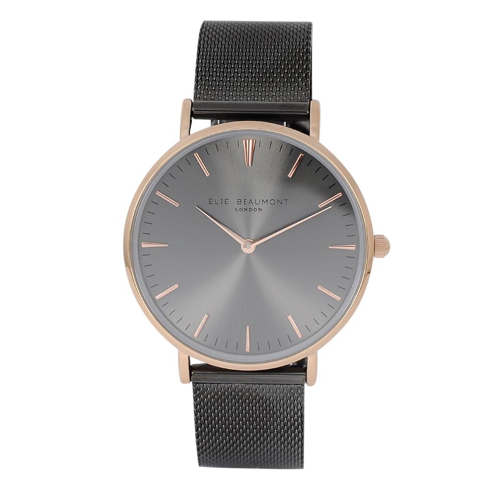 Elie Beaumont 英國時尚手錶 牛津米蘭錶帶系列暗灰錶盤x錶帶玫瑰金錶框38mm