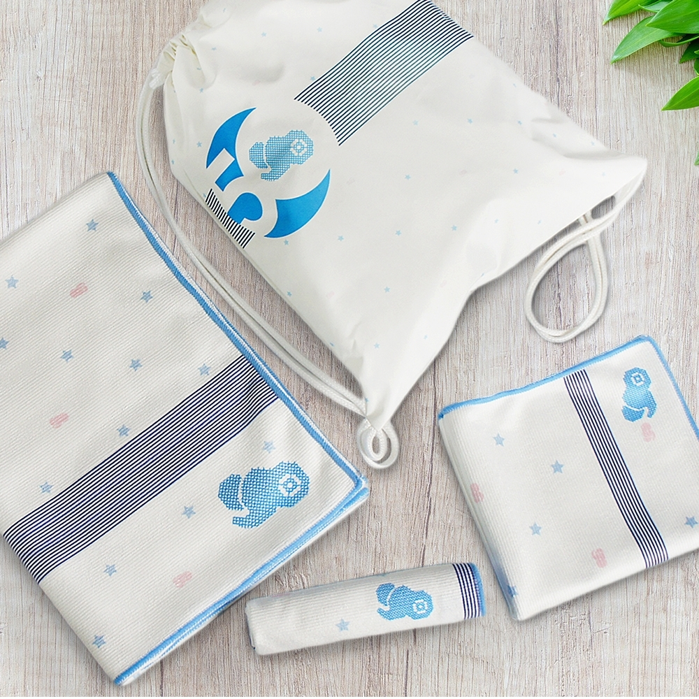 【les enphants 麗嬰房】50週年紀念版超細纖維浴巾組 (方巾+毛巾+浴巾+送束口袋)