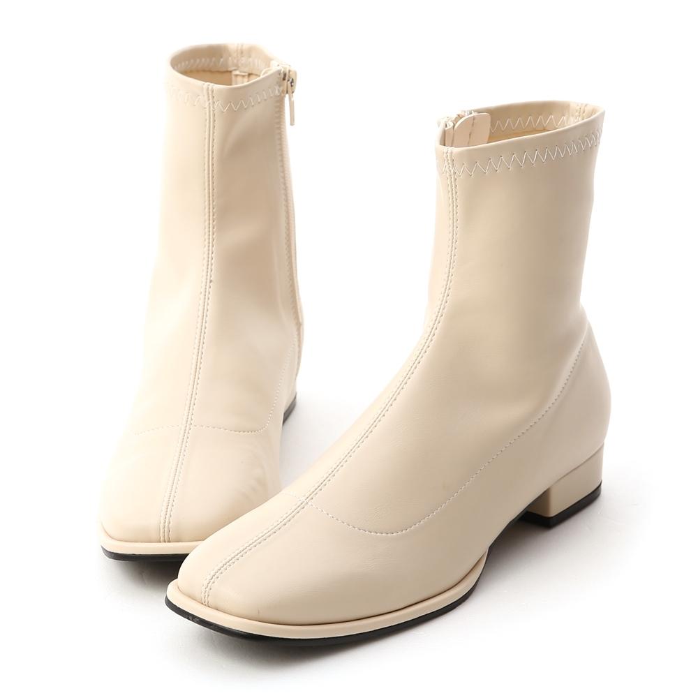 D+AF 時尚主義.中車線方頭低跟襪靴*米