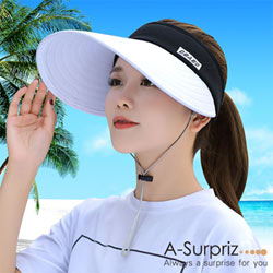 A-Surpriz 柔美雙色拼接空頂遮陽帽(白+黑)