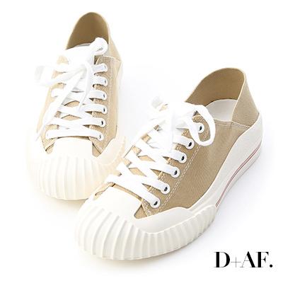 D+AF 街頭主流.奶油頭後踩式帆布休閒鞋*杏