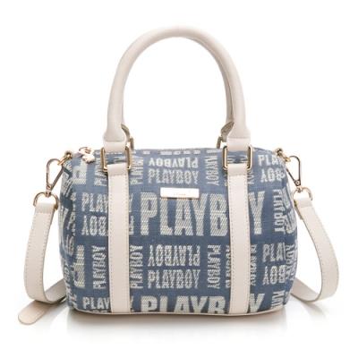 PLAYBOY-  小手提包附長背帶 玩字系列 -藍色