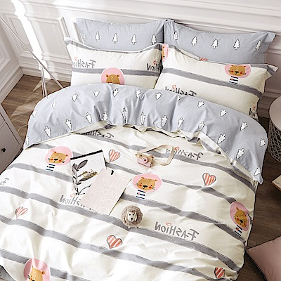 La Lune 台灣製100%40支精梳純棉雙人床包枕套三件組 螢光歲月