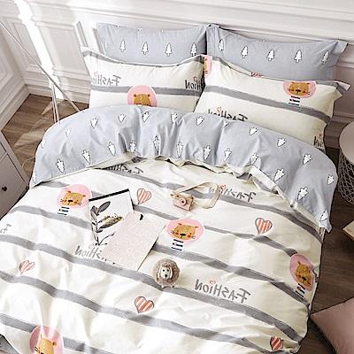 La Lune 台灣製100%40支精梳純棉雙人加大床包枕套三件組 螢光歲月