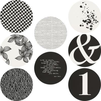 《RADER》圖紋紙杯墊8件(黑白圖藝)