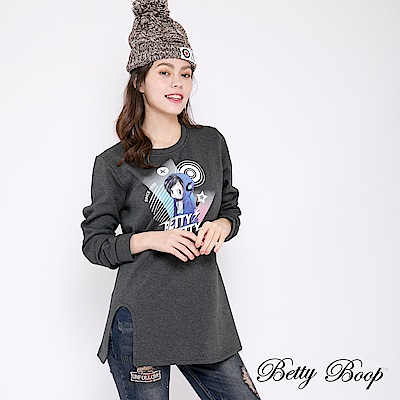 Betty Boop貝蒂 貝蒂大圖前開衩絨毛上衣(共兩色)