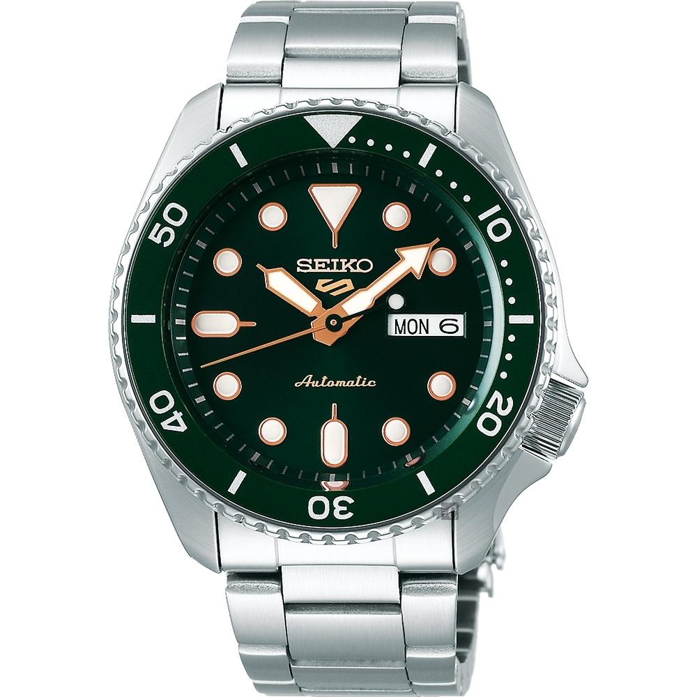 SEIKO 精工 5 Sports 系列機械錶(SRPD63K1)-綠x銀/42.5mm
