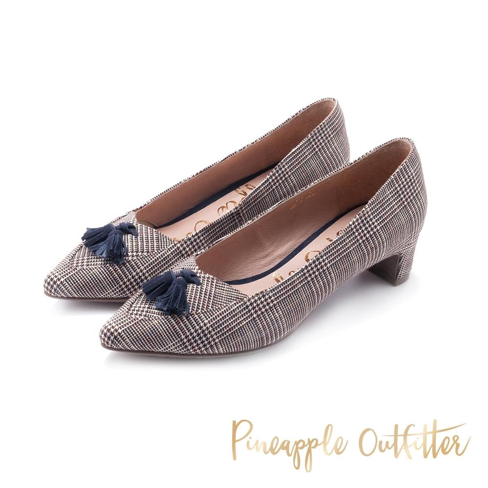 Pineapple Outfitter-PRIELA 名媛風流蘇尖頭跟鞋-格紋色