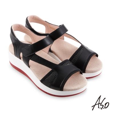 A.S.O 機能休閒 輕穩健康鞋牛皮/網布休閒涼鞋-黑