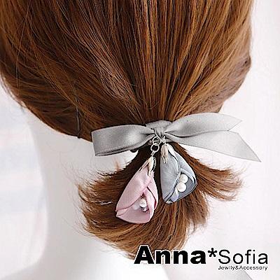 【2件7折】AnnaSofia 雙垂水滴層瓣 純手工彈性髮束髮圈髮繩(灰繩系)