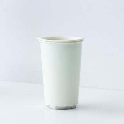 JIA Inc.虹彩鋼 雙層琺瑯塗層隨行杯350ml(白色)(快)