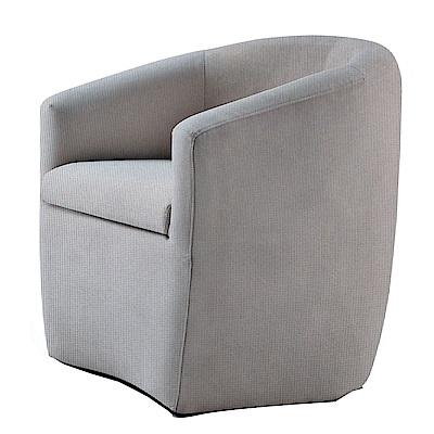 品家居 米可亞麻布實木單人沙發椅(二色可選)-67x64x72cm免組