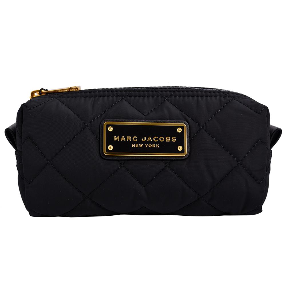 MARC JACOBS LOGO飾牌輕量尼龍菱格紋化妝包-黑/大 @ Y!購物