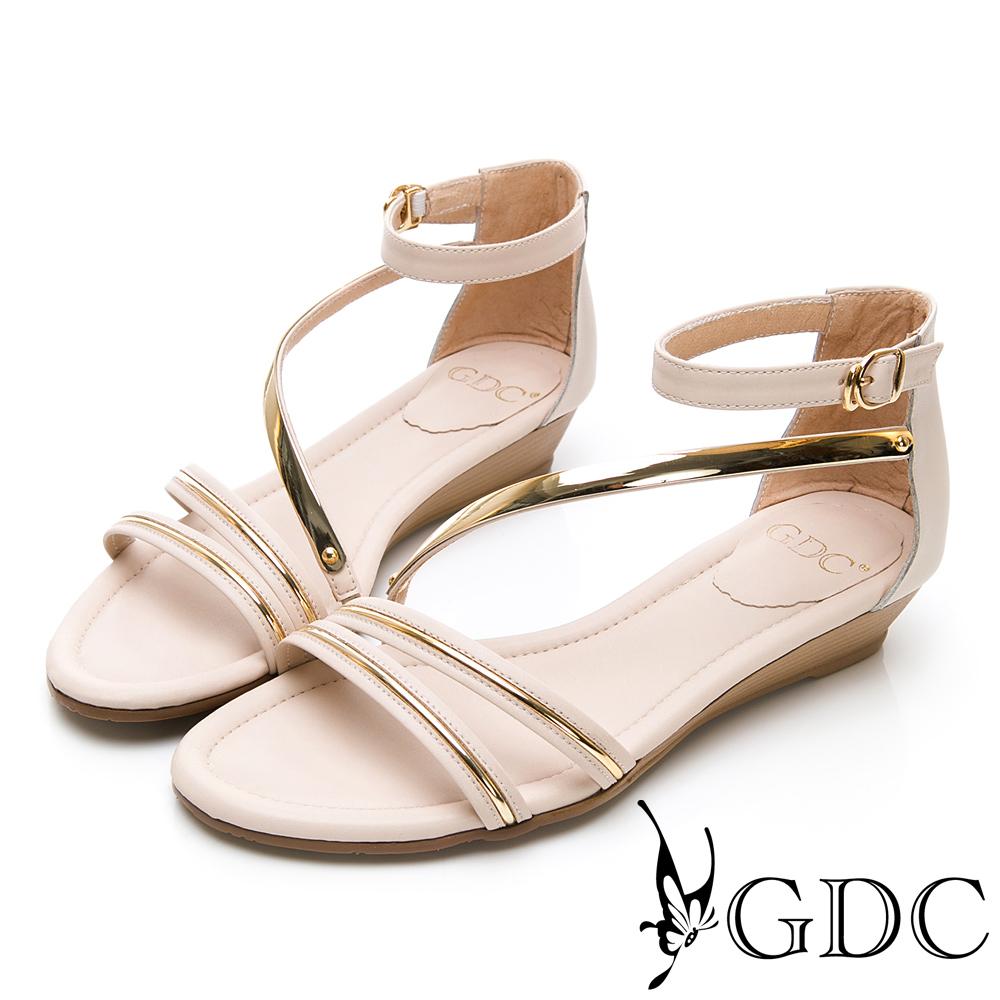GDC-真皮交叉羅馬春夏女神款後包楔型底涼鞋-米色