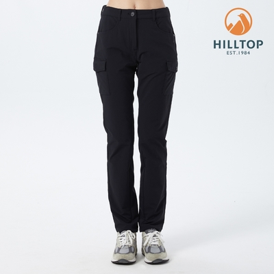 【hilltop山頂鳥】女款超潑水戶外輕量彈性多口袋長褲H31FN7黑
