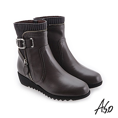 A.S.O 襪套式設計 外側拉鍊裝飾休閒短靴 灰