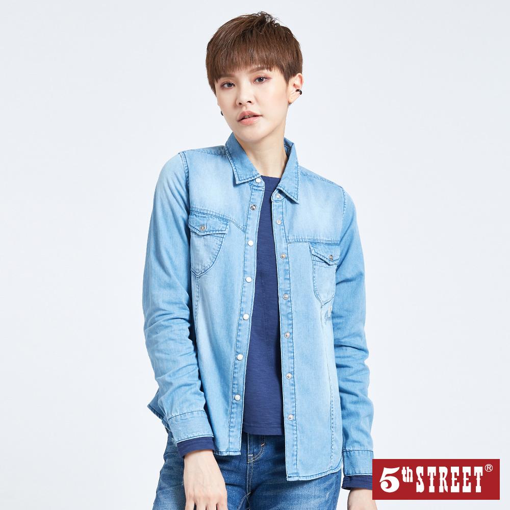 5th STREET 刺繡牛仔長袖襯衫-女-中古藍