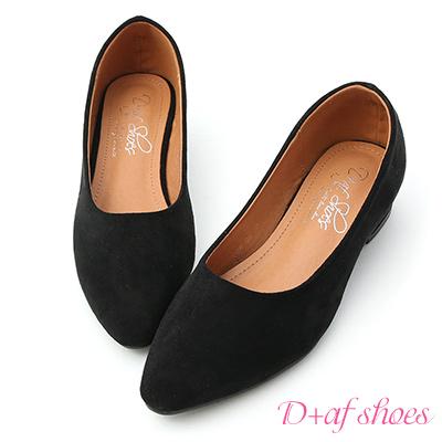 D+AF 好感秋氛.素面尖頭絨料低跟鞋*黑