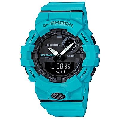 G-SHOCK 卡西歐藍牙連線跑步紀錄運動錶(GBA-800-2A2)-藍綠/48.6mm