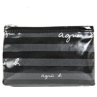 agnes b.漆皮條紋化妝(小/黑灰)