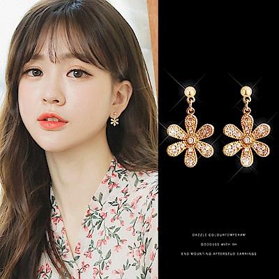 梨花HaNA 韓國925銀精緻金色小花朵滿鑽耳環