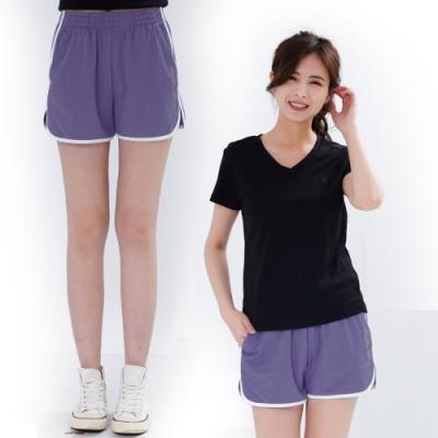 【遊遍天下】女款彈性吸排防曬慢跑運動機能短褲GP1012紫色