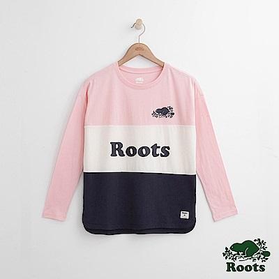 Roots -女裝- 色塊長袖上衣 - 粉