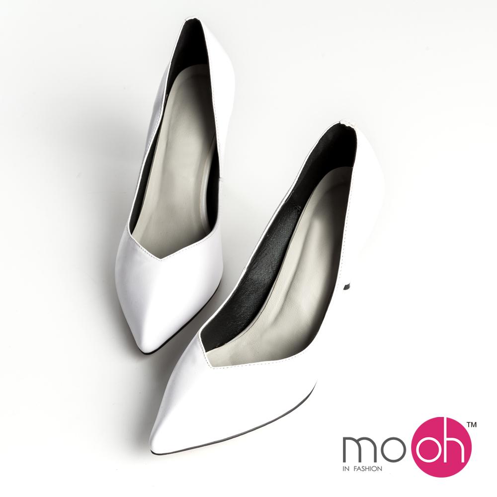 mo.oh-全真皮-尖頭V型淺口細高跟鞋-白色