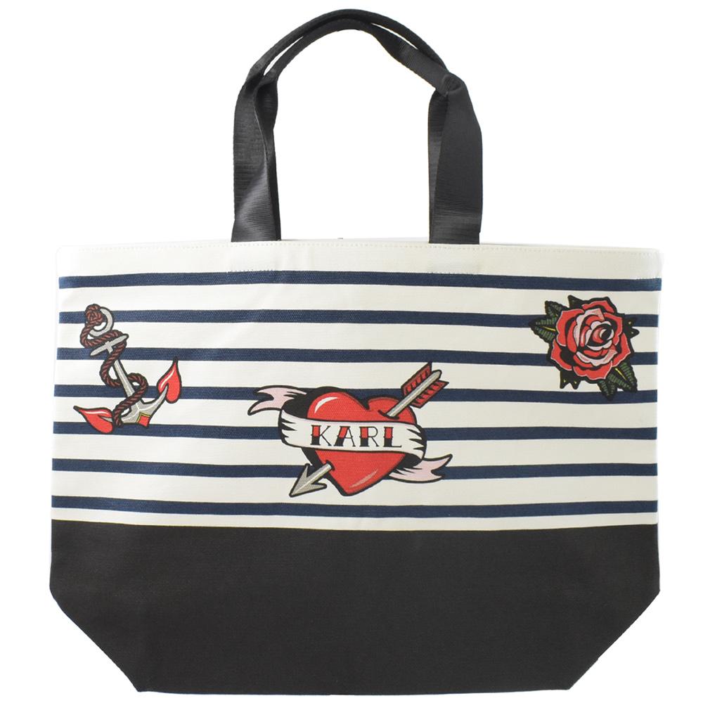 KARL LAGERFELD愛心玫瑰圖樣條紋帆布購物袋