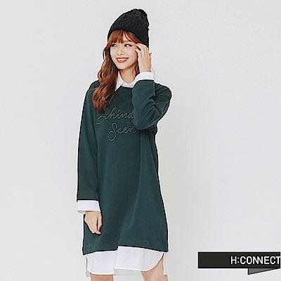 H:CONNECT 韓國品牌 女裝-層次拼接電繡文字洋裝-綠