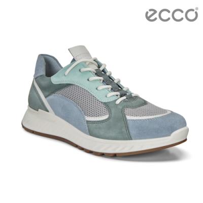 ECCO ST.1 W 舒適動能撞色皮革運動休閒鞋 女-灰藍/白