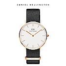 DW 手錶 官方旗艦店 36mm玫瑰金框 Classic 寂靜黑織紋錶