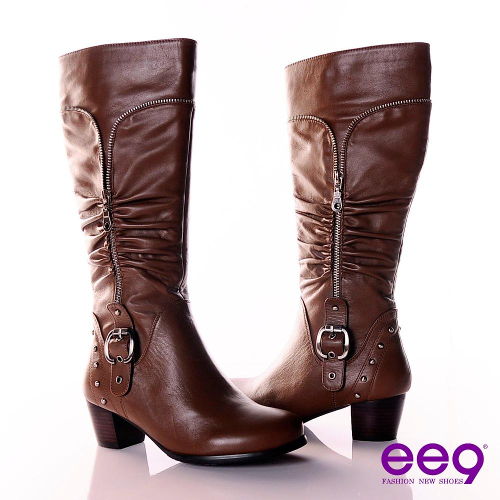ee9 魔力心機~細緻拉鍊造型抓皺金屬皮帶長筒靴~誘惑可可