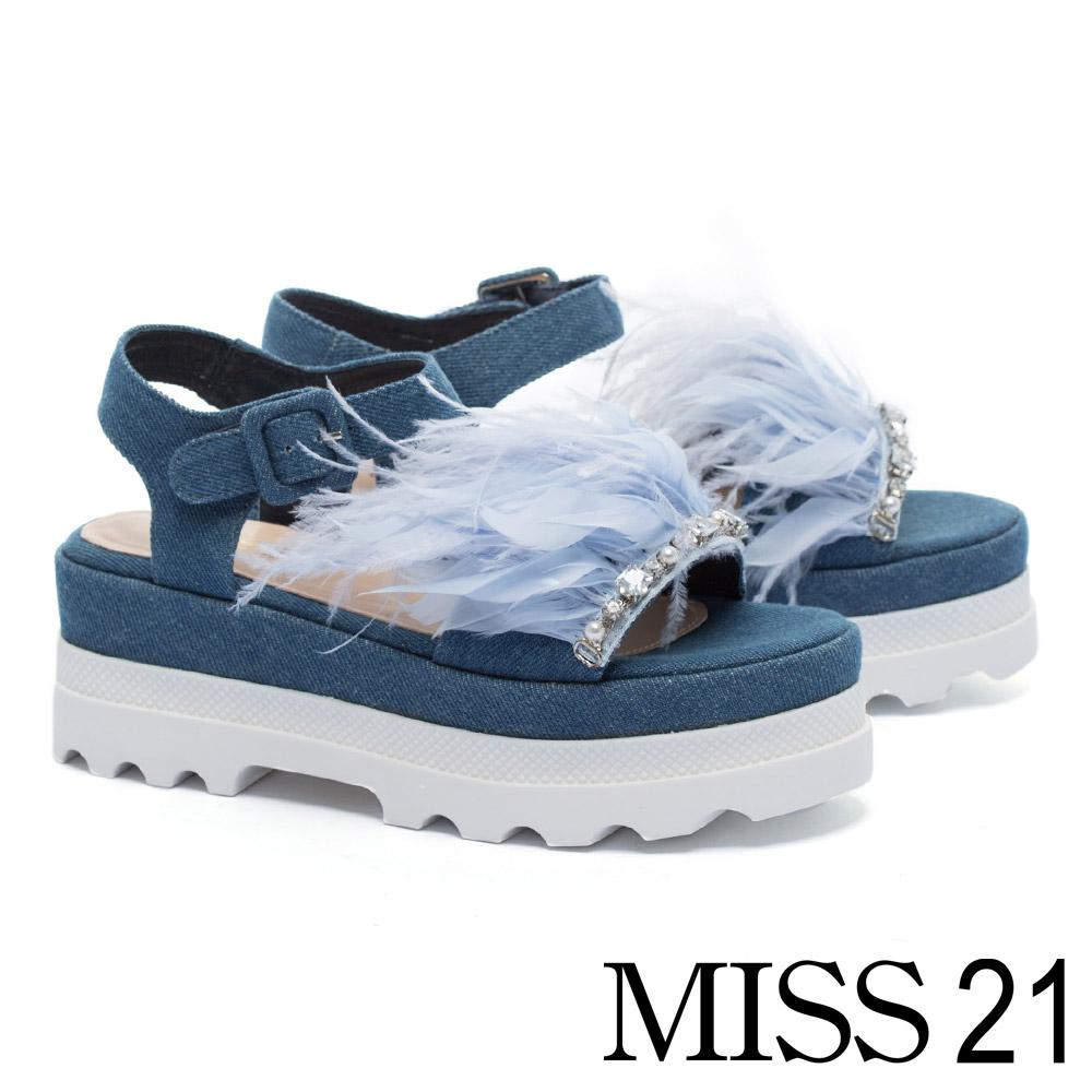 涼鞋 MISS 21 浪漫羽翼水鑽裝飾魔鬼氈厚底涼鞋-藍