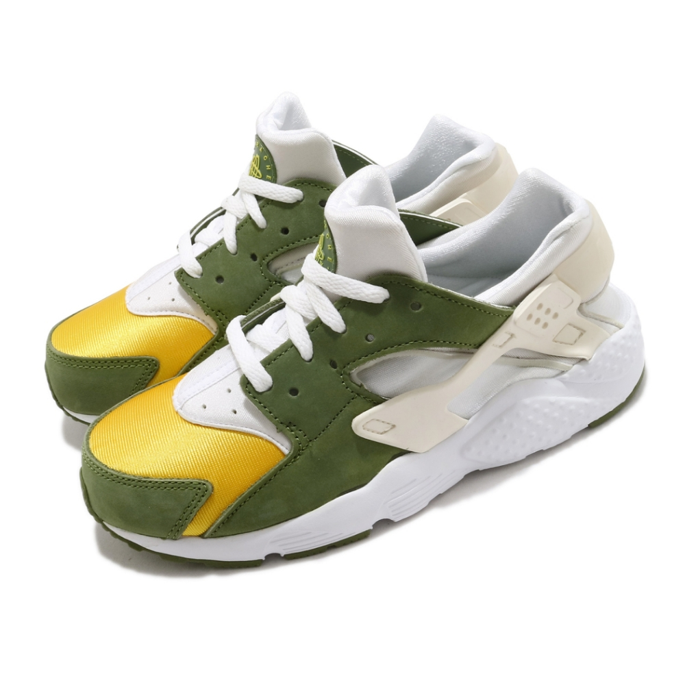 Nike 休閒鞋 Huarache Run LE 聯名 童鞋 Stussy 經典 武士鞋 穿搭 中童 白 綠 DH3324300