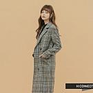 【周慶限量款】H:CONNECT 韓國品牌 女裝-格紋毛呢長版大衣-卡其