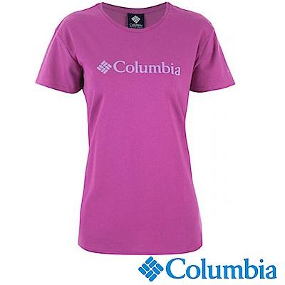 Columbia 哥倫比亞 女-LOGO快排短袖上衣紫色-UAR19730PL