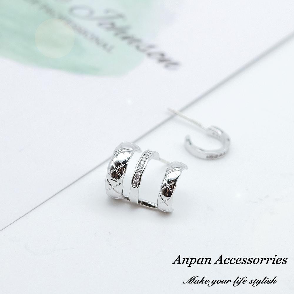 【全館6折ANPAN】925銀針韓東大門百搭幾何圓圈鑽石不對稱耳環