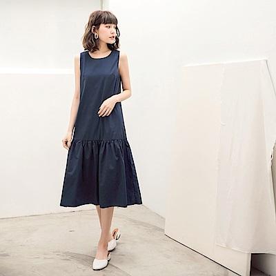 高含棉純色荷葉下襬無袖洋裝-OB大尺碼