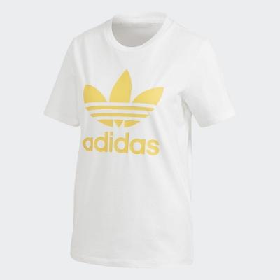 adidas 短袖上衣 運動 休閒 健身 訓練 女款 白 黃 FM3292 Trefoil Tee