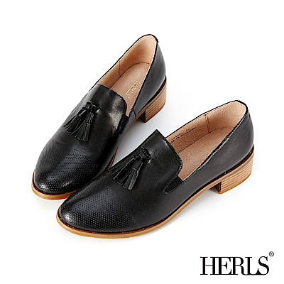 HERLS 英倫雅仕 全真皮擦色沖孔流蘇樂福鞋-黑色