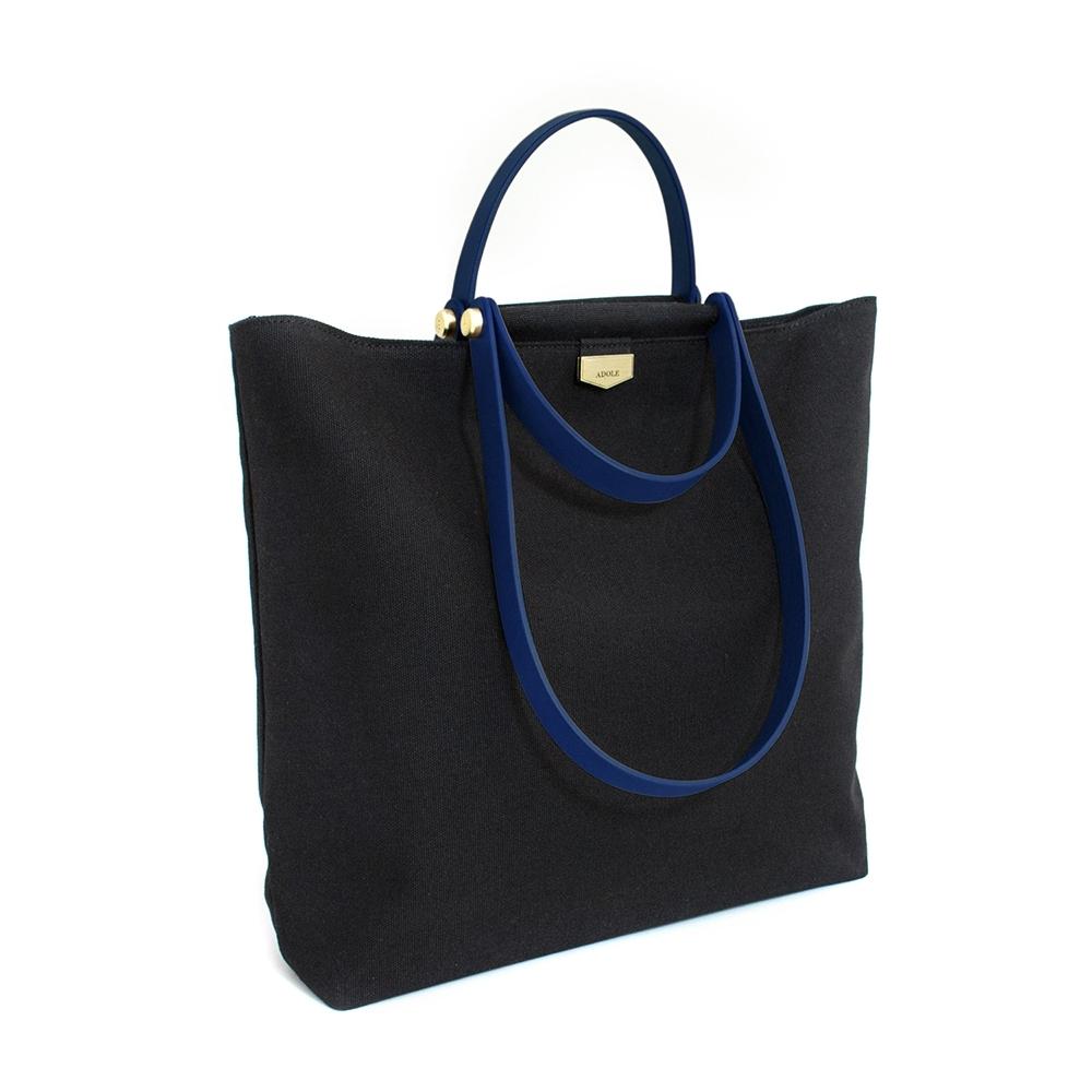 【IBAOBAO愛包包】ADOLE-ADay皮革組合包/黑帆布包+藍色提把