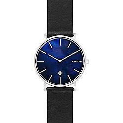 SKAGEN Hagen 北歐時尚石英錶-藍貝x黑/40mm