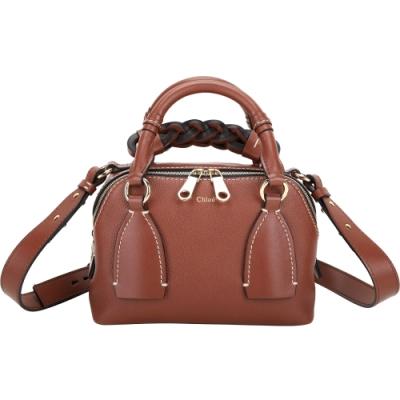 [廣告款 專櫃價$60,000] CHLOE Daria 小款 編織握把小牛皮兩用包(紅棕色)