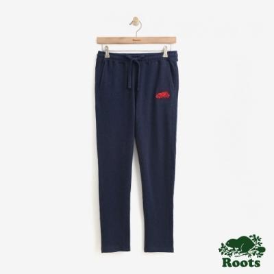 女裝Roots- 彩色毛圈布休閒棉褲-藍
