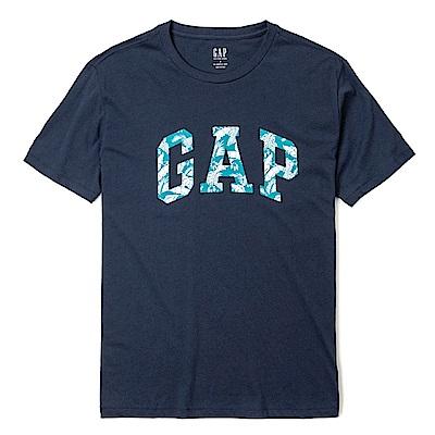GAP 經典LOGO標誌熱帶風情印刷短袖T恤-深藍色