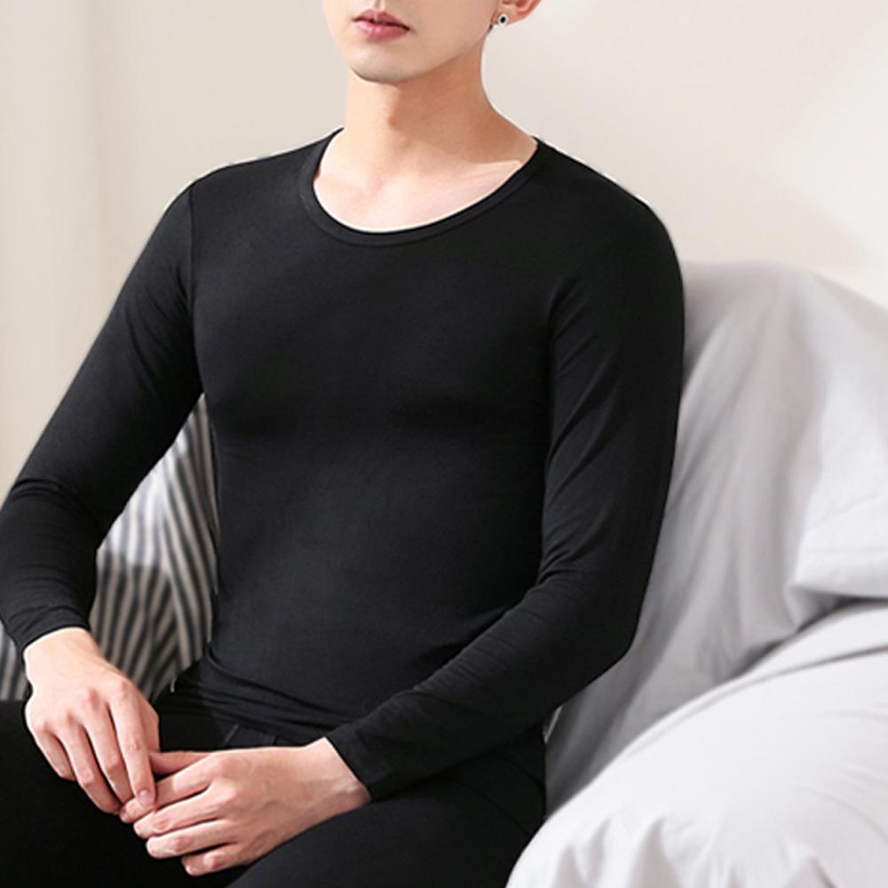 G+居家 男款輕磨毛暖暖發熱衣-圓領-黑色