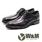 W&M 流線型綁帶正裝皮鞋 男鞋 - 黑