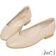 Ann'S奶奶鞋-V型小羊皮真皮方頭平底鞋-杏 product thumbnail 1